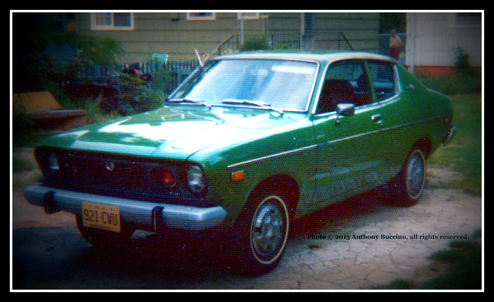 Datsun B10, M&M green, 1975, four Cylinder- photo Anthony Buccino